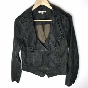 CAbi Black Waxed Linen Moto Jacket